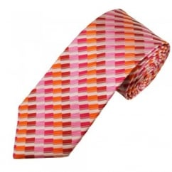 Wine Red, Orange, Fuchsia, Pink & White Striped Pattern Men's Silk Tie