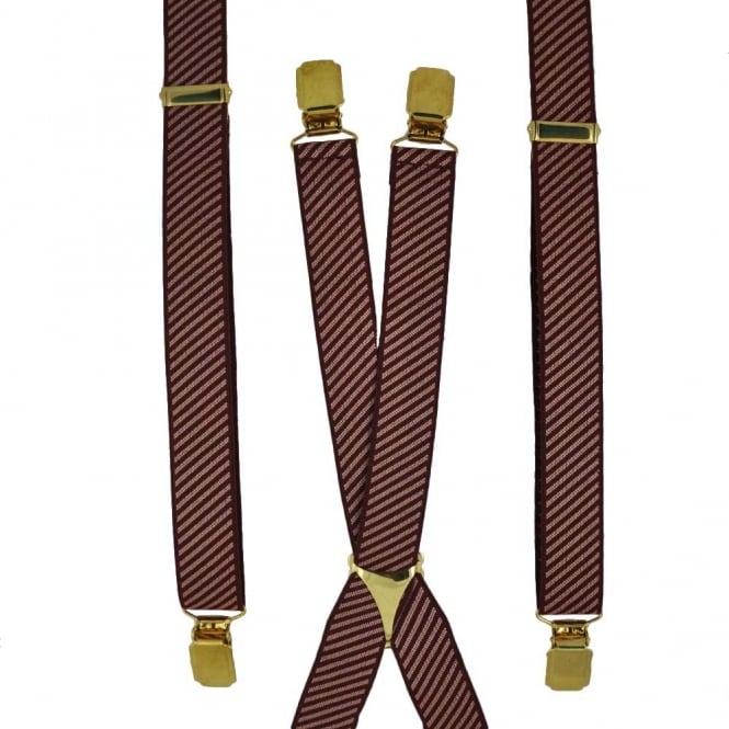 Wine Red & Pink Striped Skinny Trouser Braces