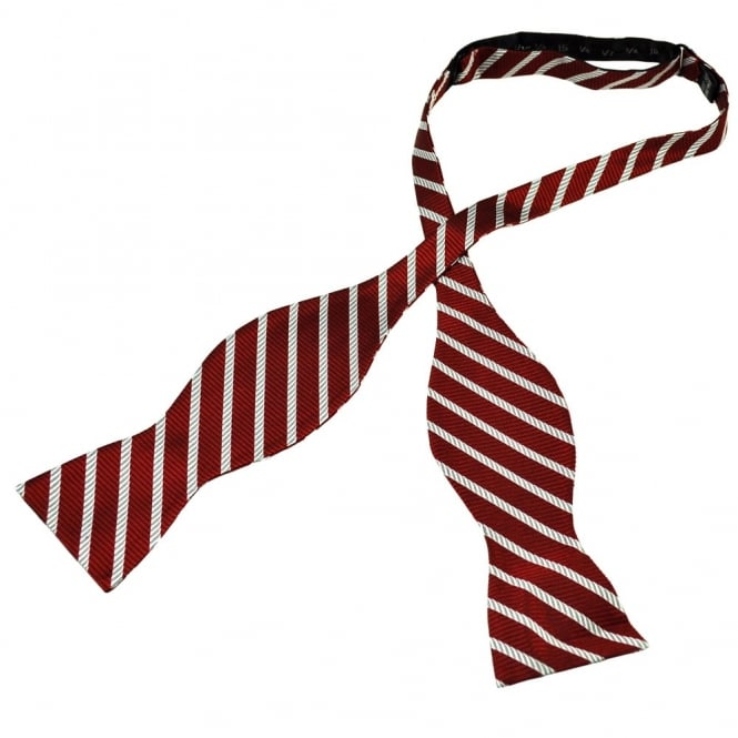 Wine Red & Silver Striped Self Tie Silk Bow Tie