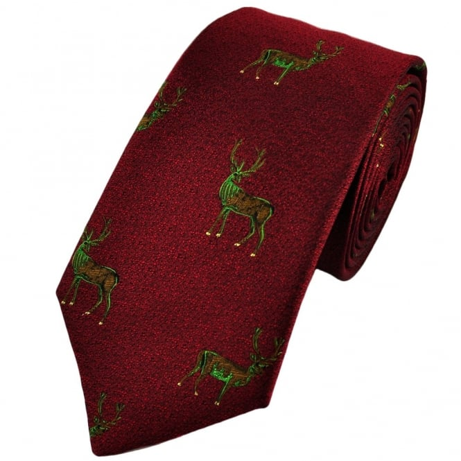 Wine Red Stag Silk Country Tie by Van Buck