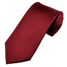 Wine Red Texture Patterned Men's Silk Tie