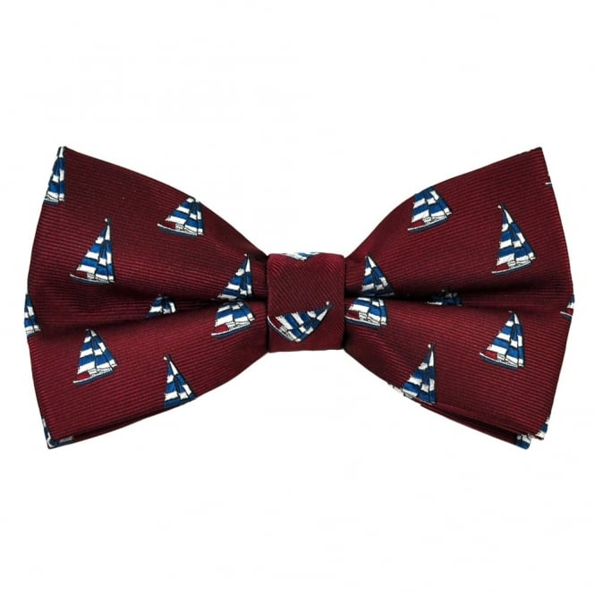 Wine Red Yachts Novelty Bow Tie