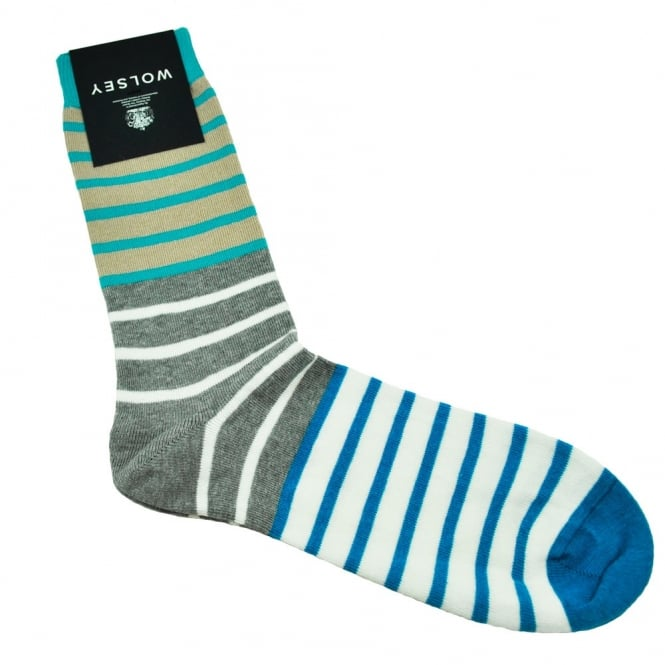 Wolsey Beige, Grey, White, Blue & Turquoise Striped Men's Socks