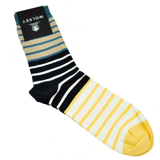 Wolsey Beige, Navy, White, Blue & Yellow Striped Men's Socks