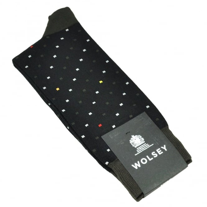 Wolsey Black, Dark Green & Grey Square Patterned Bamboo Men's Socks