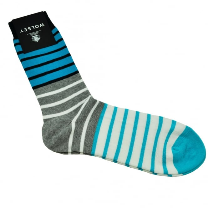 Wolsey, Blue, Grey, White, Navy & Turquoise Striped Men's Socks