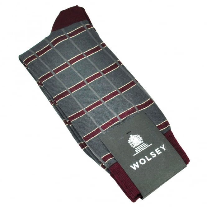 Wolsey Charcoal Grey, Burgundy & Ivory Check Bamboo Men's Socks