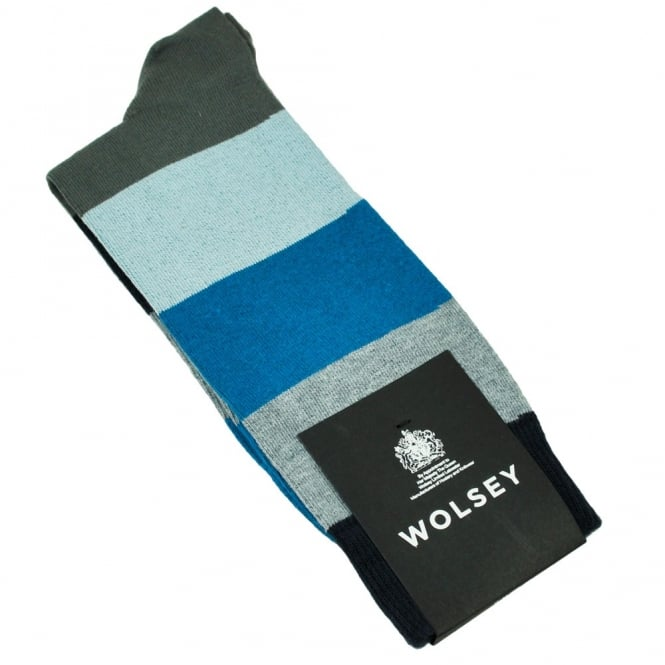 Wolsey Dark Grey, Light Blue, Blue, Grey & Navy Striped Men's Socks