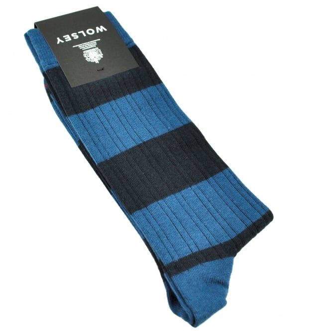 Wolsey Navy Blue & Dark Blue Striped Men's Socks