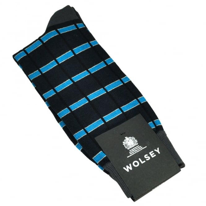 Wolsey Navy, Charcoal Grey, Blue & Ivory Check Bamboo Men's Socks
