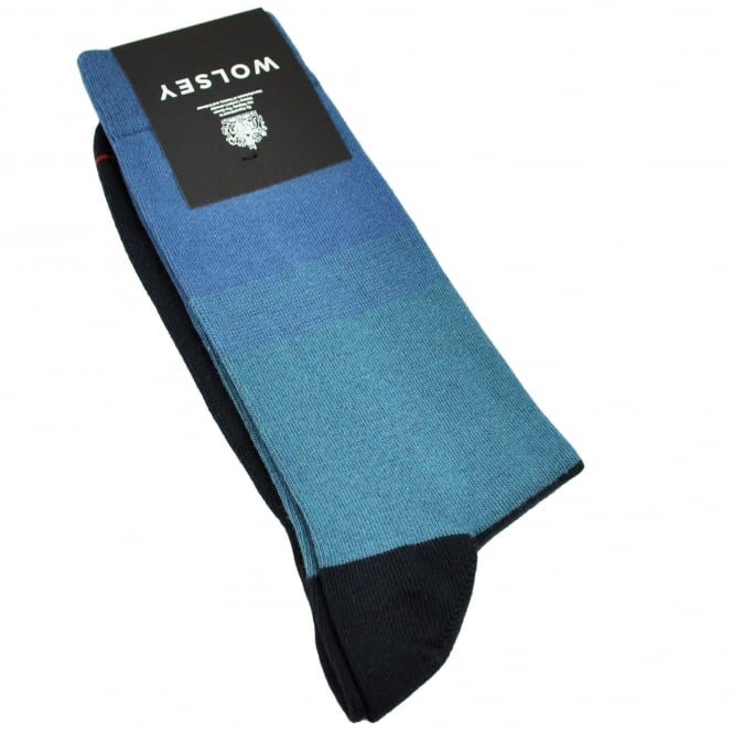 Wolsey Shades Of Blue Striped Men's Socks