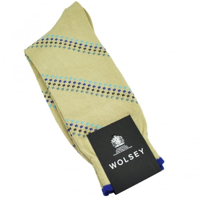 Wolsey Stone Beige & Multi Coloured Diamond Pattern Men's Socks