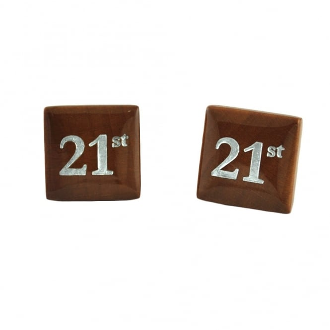Wooden 21st Birthday Cufflinks