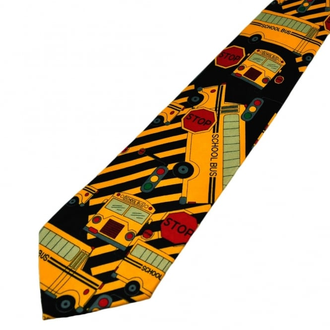 Yellow American Style School Bus Novelty Tie