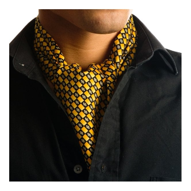 Yellow & Black Checked Casual Cravat