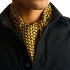 Yellow & Black Checked Casual Cravat