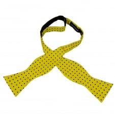Yellow & Black Polka Dot Self Tie Silk Bow Tie