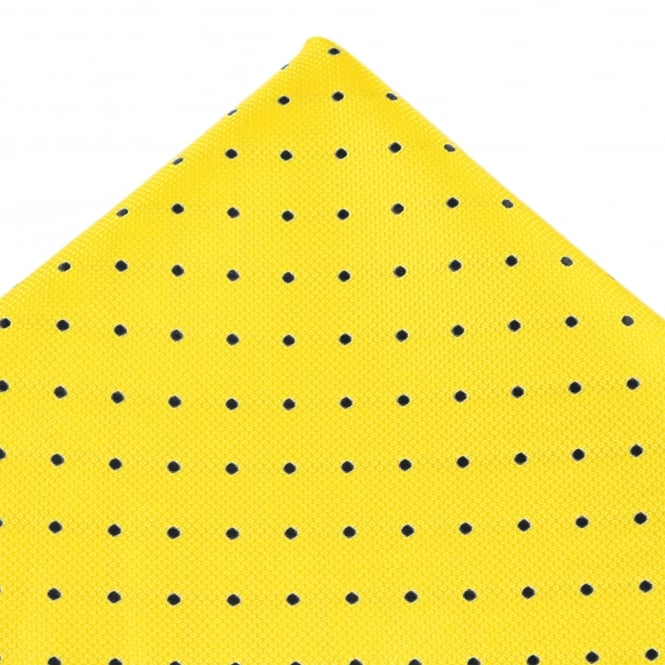 Yellow & Black Polka Dot Silk Pocket Square Handkerchief