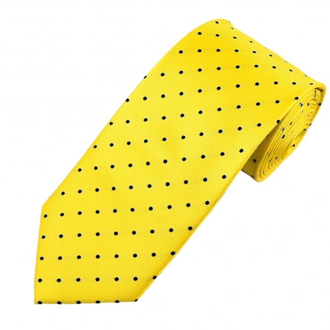 Yellow & Black Polka Dot Silk Tie