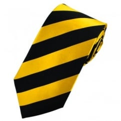 Yellow & Black Striped Silk Tie