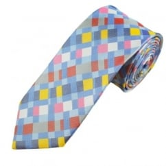 Yellow, Blue, Pink, Red & White Patterned Men's Silk Tie
