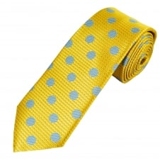 Yellow, Blue & Silver Grey Polka Dot Men's Tie