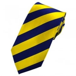 Yellow & Blue Striped Silk Tie