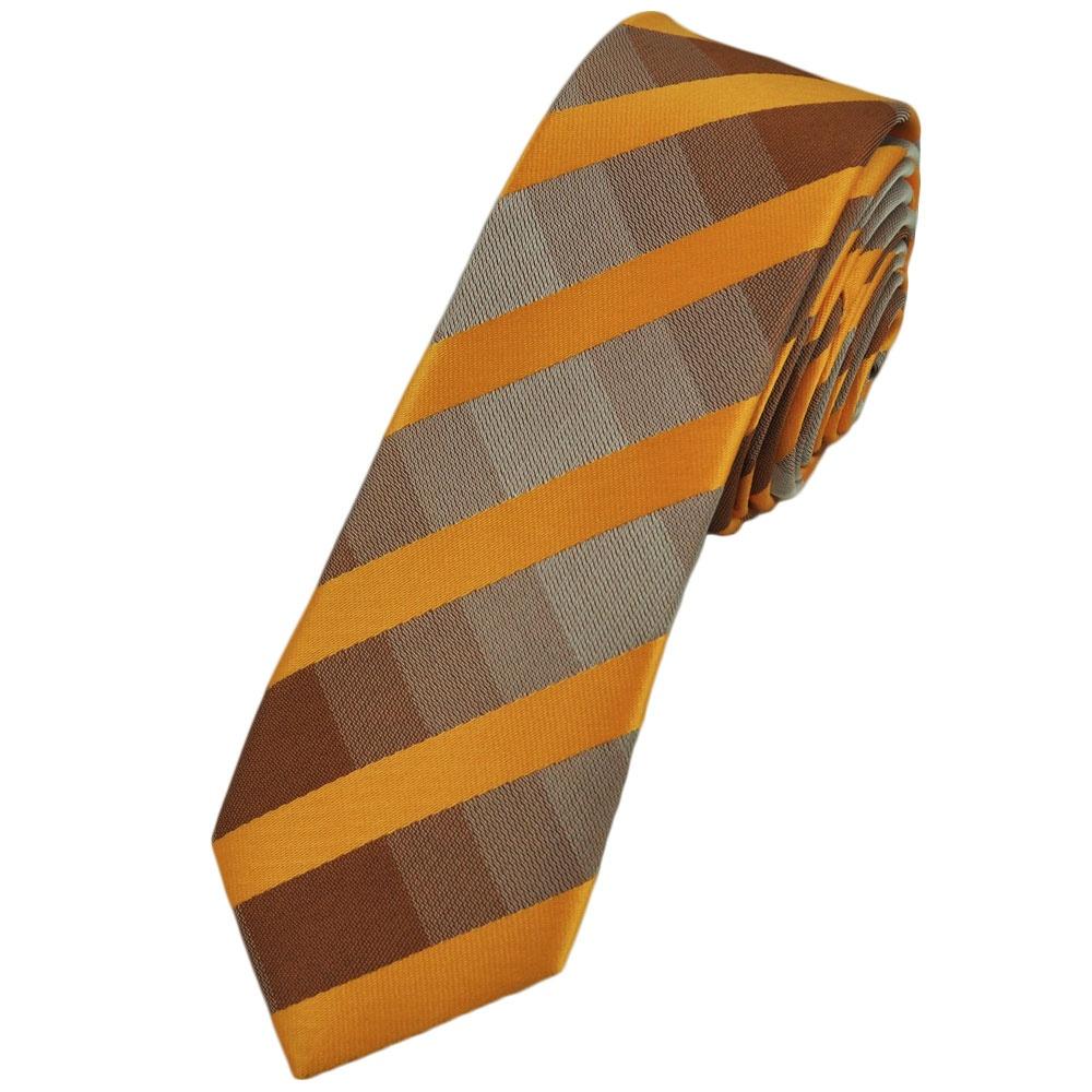 Skinny ties ties planet yellow amp brown checked skinny tie