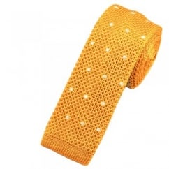 Yellow Gold & White Polka Dot Silk Knitted Tie