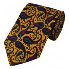 Yellow Large Paisley Silk Tie