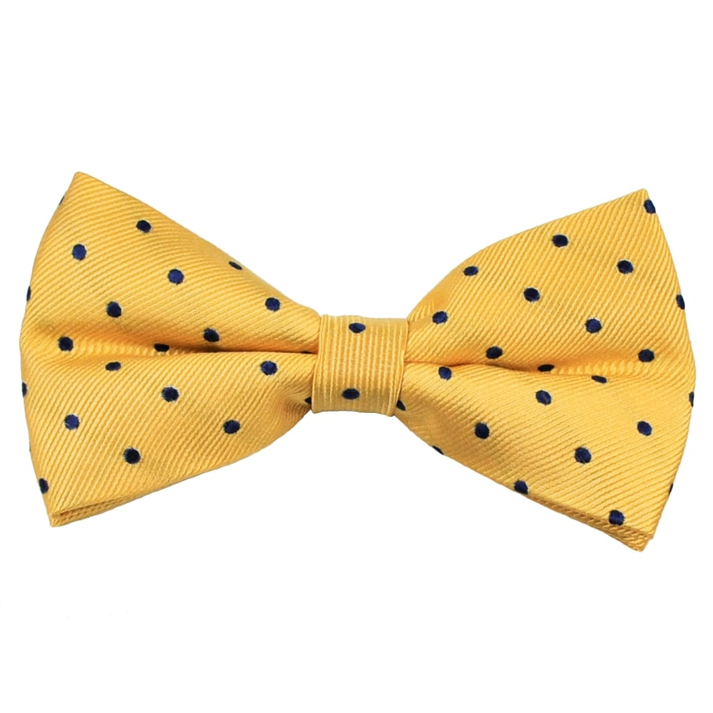 ce149b1f37a4 Yellow & Navy Blue Polka Dot Silk Bow Tie from Ties Planet UK