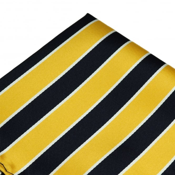 Yellow, Navy Blue & White Striped Pocket Square Handkerchief