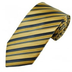 Yellow, Navy, Light Blue & White Striped Men's Silk Tie - Gift Boxed