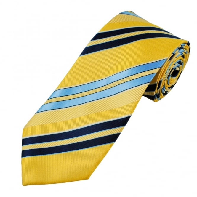 Yellow, Navy & Sky Blue Striped Men's Extra Long Tie