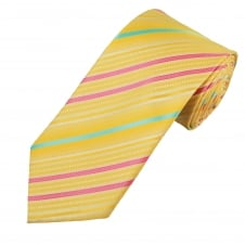 Yellow, Pink & Turquoise Striped Men's Extra Long Tie