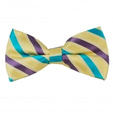 Yellow, Purple & Turquoise Striped Men's Bow Tie