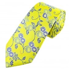 Yellow & Royal Blue Flower Patterned Men's Extra Long Tie