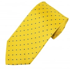 Yellow & Royal Blue Polka Dot Silk Men's Tie