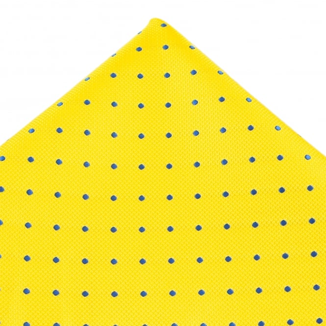 Yellow & Royal Blue Polka Dot Silk Pocket Square Handkerchief