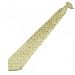 Yellow, Silver & Blue Paisley Patterned Clip On Tie