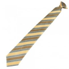 Yellow, Silver Grey & Black Striped Patterned Clip On Tie