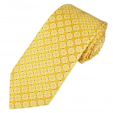 Yellow, White & Navy Blue Checked Men's Tie