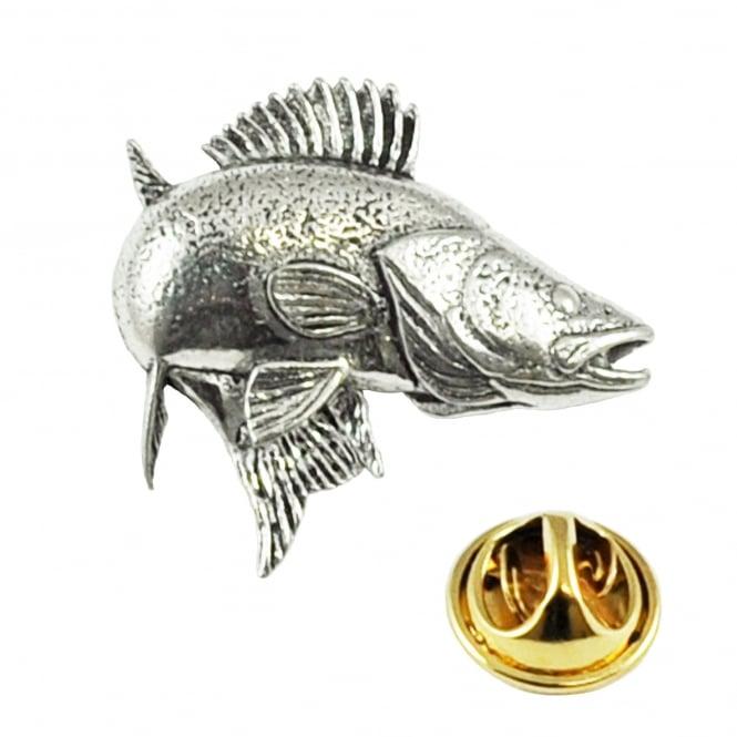 Zander / Walleye Fish English Pewter Lapel Pin Badge